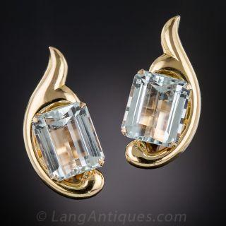 Mid-Century Aquamarine Earrings - 1