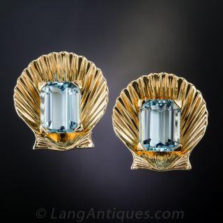Mid-Century Aquamarine Shell Earrings - 1