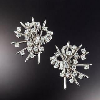 Mid-Century 'Atomic' Diamond Ear Clips - 1