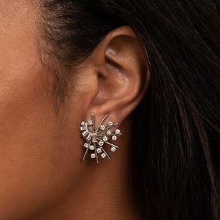 Mid-Century 'Atomic' Diamond Ear Clips