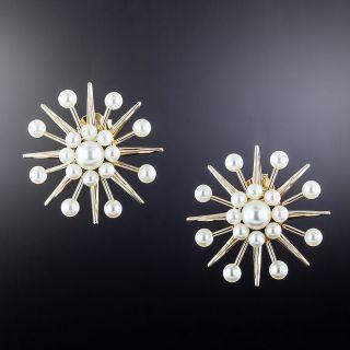 Mid-Century 'Atomic' Pearl Earrings - 1