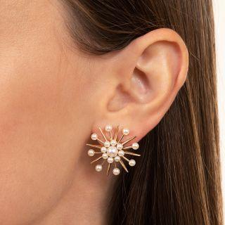 Mid-Century 'Atomic' Pearl Earrings