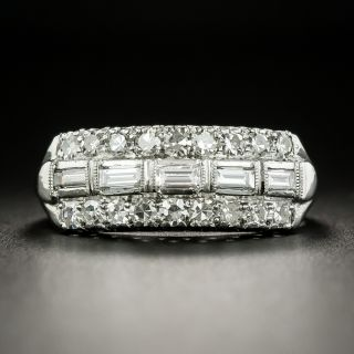 Mid-Century Baguette and Round Diamond Band Ring - 2