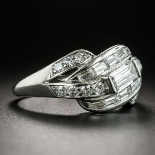 Mid-Century Baguette Diamond Band Ring by Hartzberg