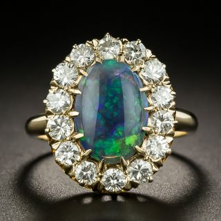 Mid-Century Black Opal and Diamond Cluster Ring - 2