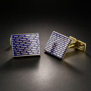Mid-Century Blue Enamel Cufflinks - 2