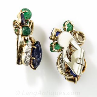Mid-Century Carved Sapphire, Emerald and Diamond Earrings