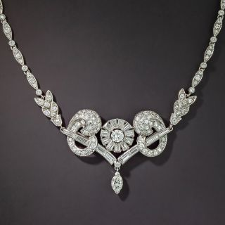 Mid-Century Baguette and Round Diamond Necklace - 3