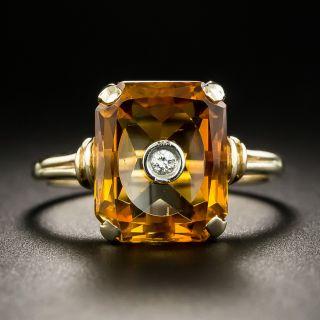 Mid-Century Citrine and Diamond Ring - 2