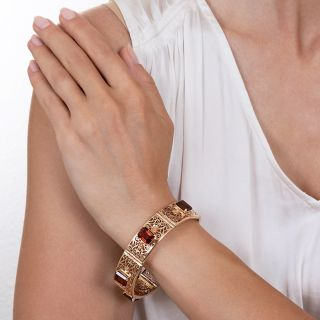 Mid-Century Citrine Link Bracelet