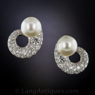 Mid-Century Classic Diamond and Pearl Earrings - 1