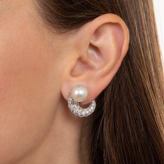 Mid-Century Classic Diamond and Pearl Earrings