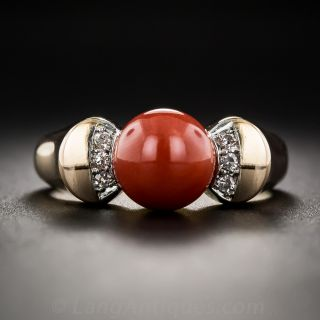 Mid-Century Coral and Diamond Ring - 1