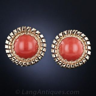 Mid-Century Coral Button Earclips