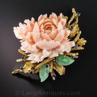 Mid-Century Coral Chrysanthemum Jade and Sapphire Brooch