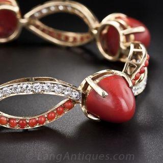 Mid-Century Coral, Diamond and Gold Bracelet - 2