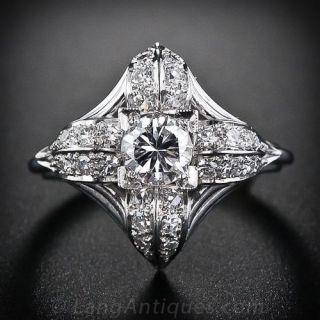 Mid-Century Diamond and Platinum Ring