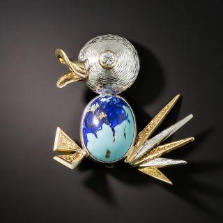 Mid Century Diamond and Turquoise/Azurite Duck Brooch - 2