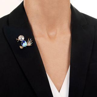 Mid Century Diamond and Turquoise/Azurite Duck Brooch