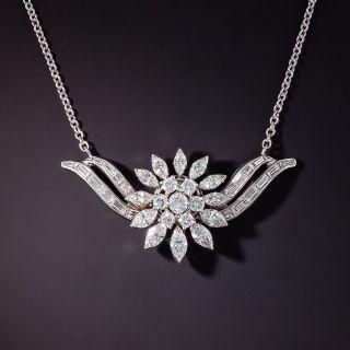 Mid-Century Diamond Cluster Necklace - 0