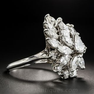 Mid-Century Diamond Cluster Ring