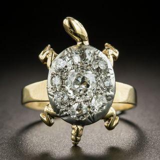 Vintage Diamond Cluster Turtle Ring - 1