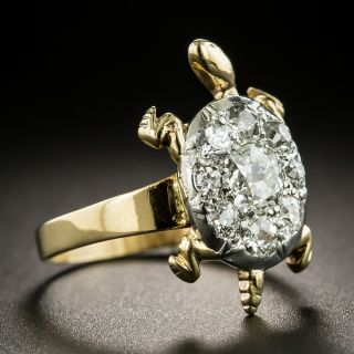 Mid-Century Diamond Cluster Turtle Ring