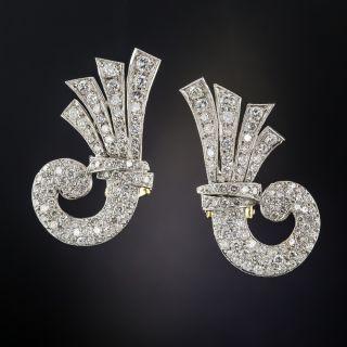 Mid-Century Diamond Cornucopia Clip Earrings  - 2