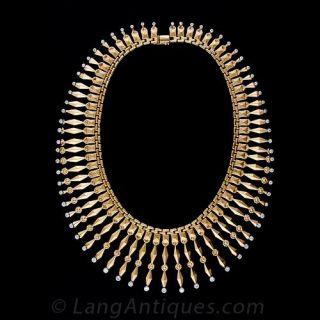 Mid-Century Diamond Fringe Necklace - 1