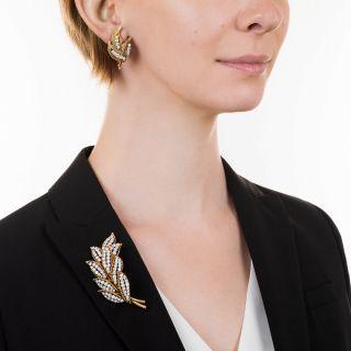 Mid-Century Diamond Leaf Brooch and Earrings