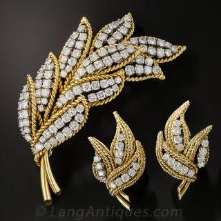 Mid-Century Diamond Leaf Brooch and Earrings - 1