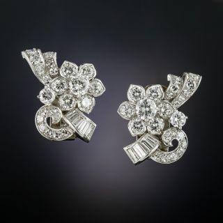 Mid-Century Platinum Diamond Earrings - 2