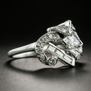 Mid-Century Platinum .70 Carat Center Diamond Platinum Ring