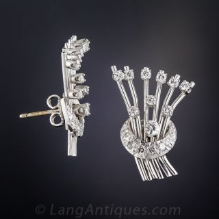 Mid-Century Diamond Spray Earrings