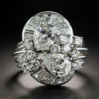Mid-Century Double Pear Shape Diamond Cocktail Ring