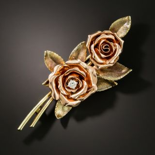 Mid-Century Double Rose and Diamond Brooch by Krementz - 3