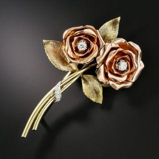 Mid-Century Double Rose Brooch by Krementz - 2