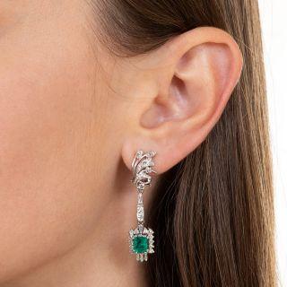 Mid-Century Emerald and Diamond Dangle Earrings