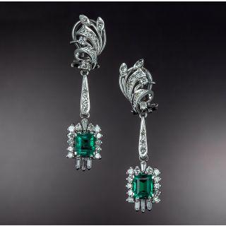 Mid-Century Emerald and Diamond Dangle Earrings - 1