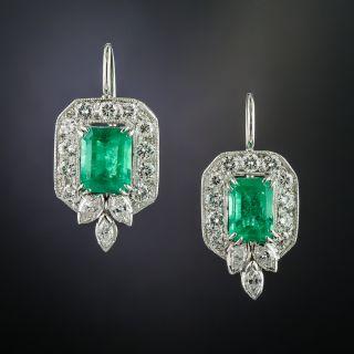 Vintage Emerald and Diamond Drop Earrings - 2