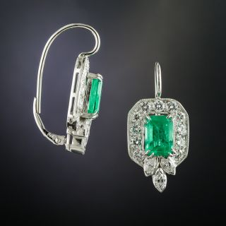 Mid Century Emerald and Diamond Drop Earrings