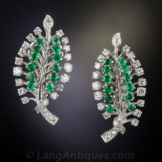 Mid-Century Emerald and Diamond  Earrings