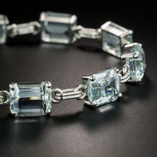 Mid-Century Emerald-Cut Aquamarine Link Bracelet - 2