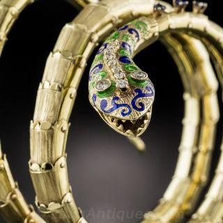 Mid-Century Enamel, Diamond and Sapphire Serpent Bangle Bracelet