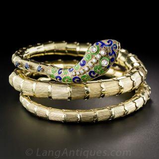Mid-Century Enamel, Diamond and Sapphire Serpent Bangle Bracelet - 3