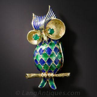 Mid-Century Enamel Owl Brooch - 1