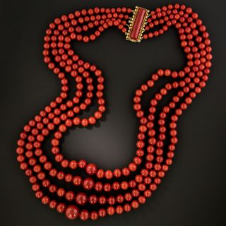 Mid-Century Four-Strand Coral Necklace - 2