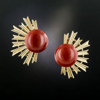 Mid-Century Gem Red Coral Spray Clip Earrings - 2