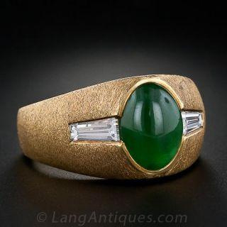 Mid-Century Gents Jadeite and Diamond Ring