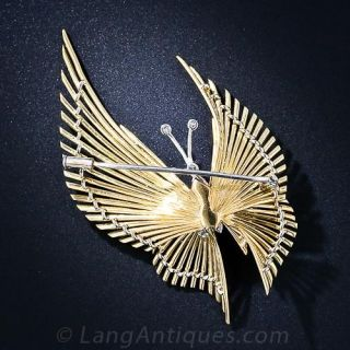 Mid-Century Gold and Diamond Butterfly